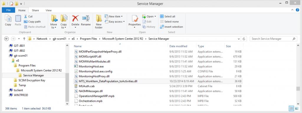 01 - DLL in SCSM Install Folder